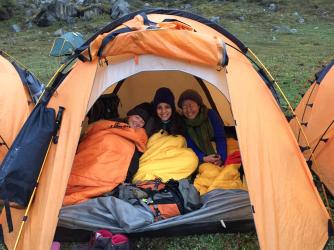 (L to R) Jaime, me & Yoko at 6:30 am not wanting to leave our warm tent